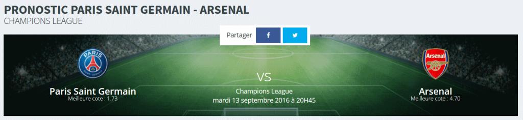 Faites vos pronostics PSG /Arsenal Ligue des Champions 2016 sur Rue des Joueurs !